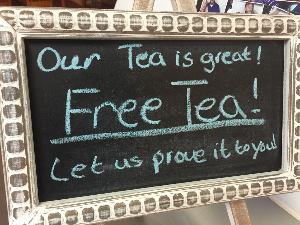 Free tea today 82715 with any purchase chalkboard
