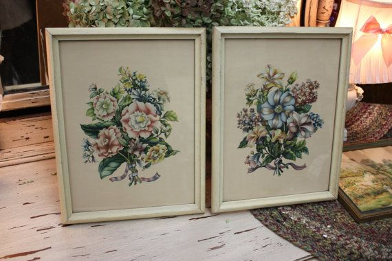Mid Century pair of floral art prints / Baby by CeliaAntiques, $48.00