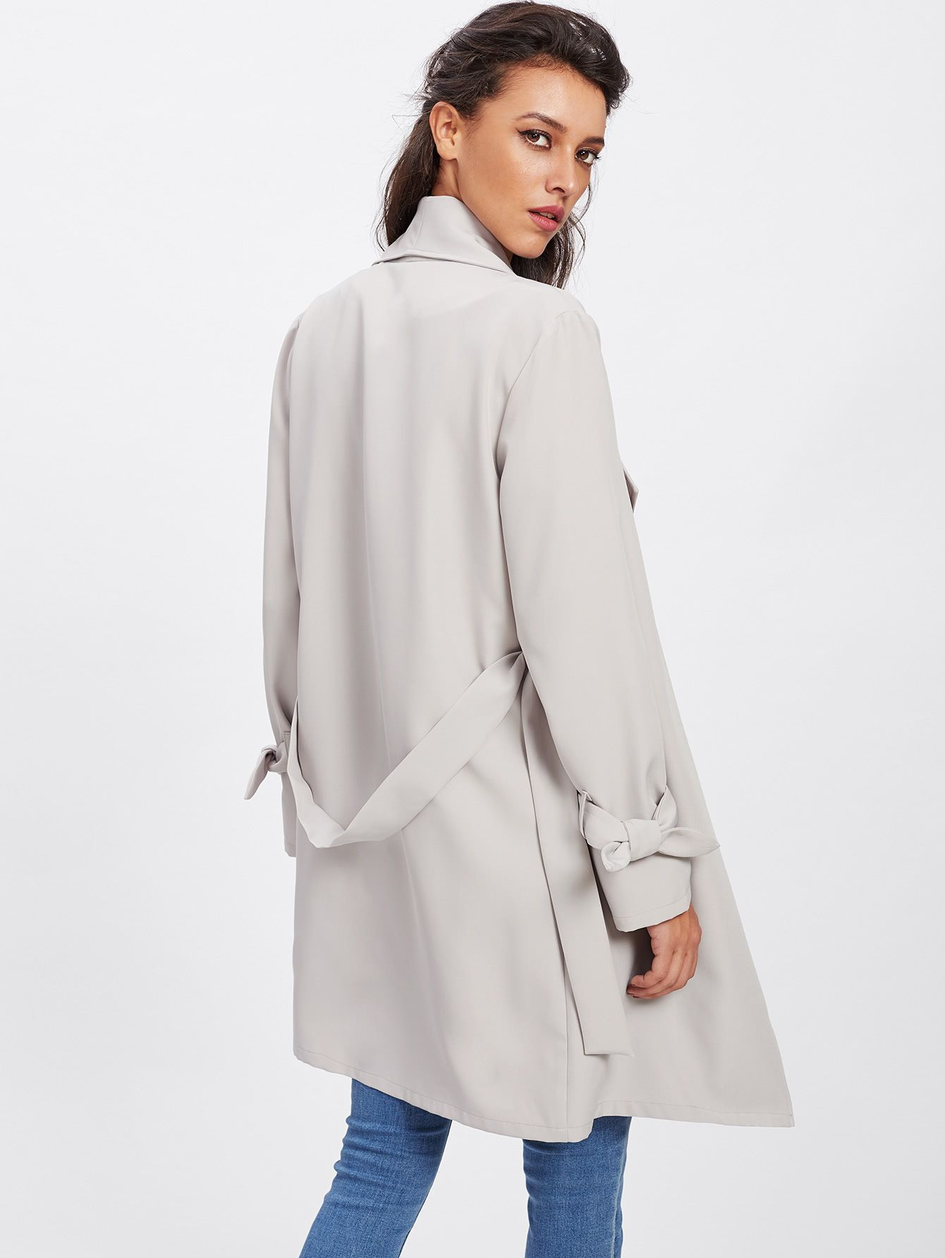 Shop Belted Cuff Wrap Coat online. SheIn offers Belted Cuff Wrap Coat   more  to fit your fashionable needs. 2089e1937128