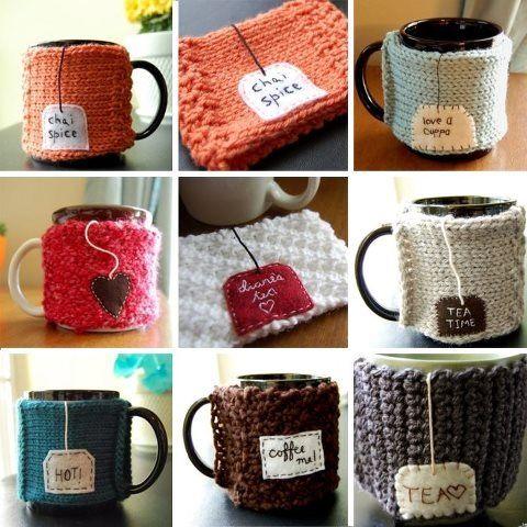 mug sweaters | Crochet mug cozy, Loom knitting, Knit crafts