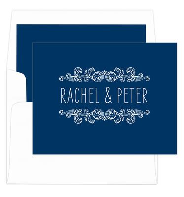 Navy Woodcut Scroll Folded Note Cards Folded Note Card Note Cards How To Fold Notes