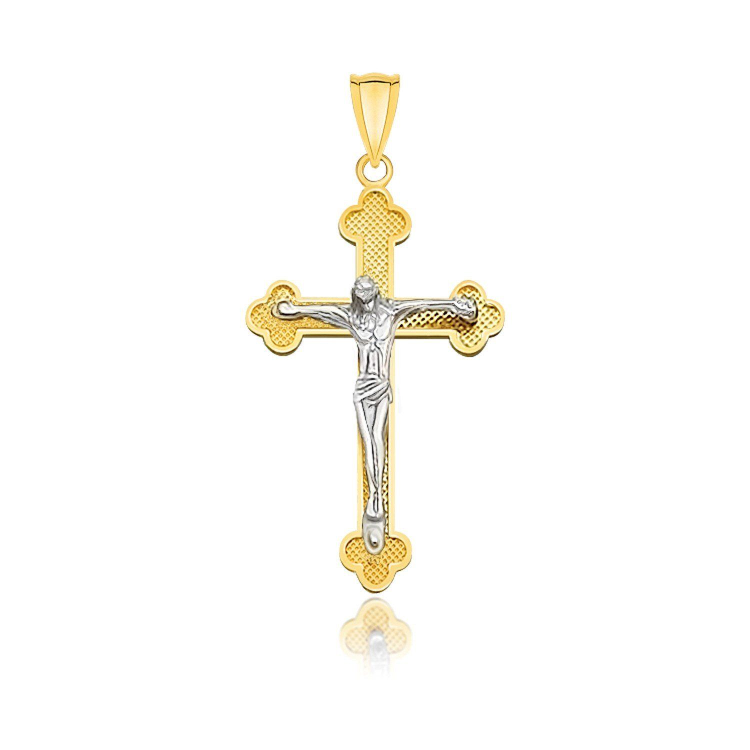 K twotone gold small budded style cross with figure pendant