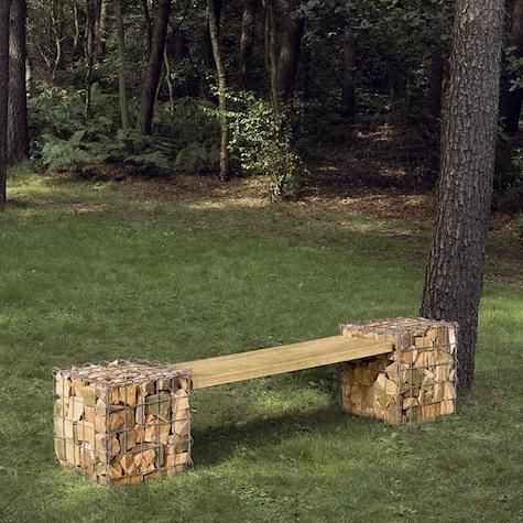 outdoors gabion bench from manufactum muebles