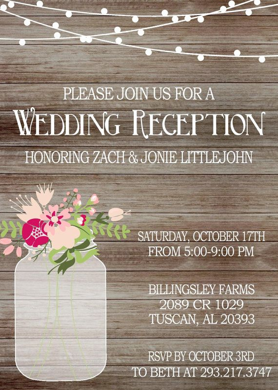 Rustic Wedding Reception Invitation On With By GoldenGirlDesignz