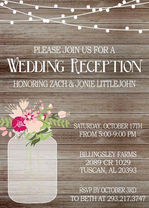 Rustic Wedding Reception Invitation With Lights Mason Jar Invite