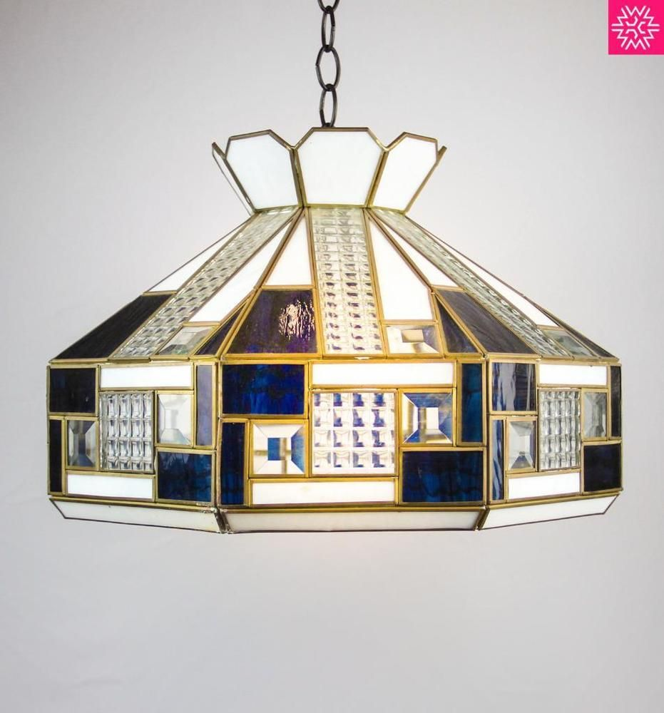 retro stained glass ceiling lamp shade cross reeded panel lighting