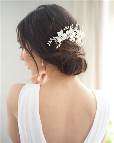 Wedding Hairstyle Prices: Floral Wedding Hair Clip In Silver Or Gold With Brushed