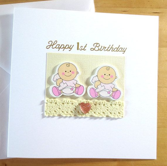 Twin S First 1st Birthday Card Gift Personalised Twin S First 1st Birthday Card Twin Boys Twin Girls First 1st Birthday Card 1st Birthday Cards First Birthday Cards Birthday Cards
