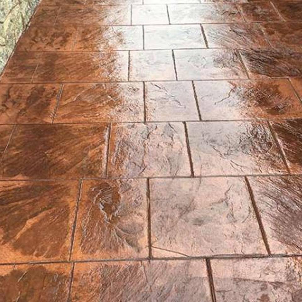 Acera De Casa De Hormigón Estampado En Textura Piedra Sillar Color Corcho Envejecido Casa De Hormigón Pavimento Impreso Hormigon