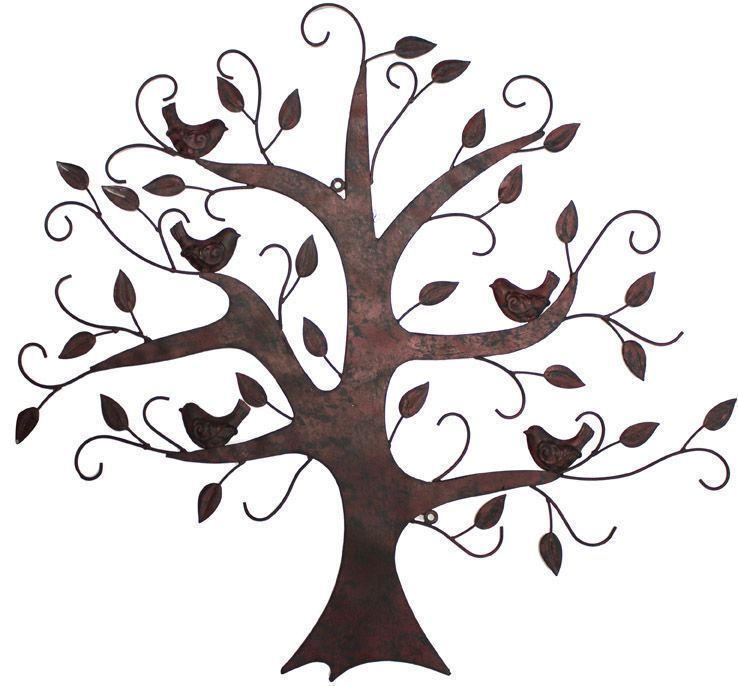 Home metal wall art flowers leaves trees birds