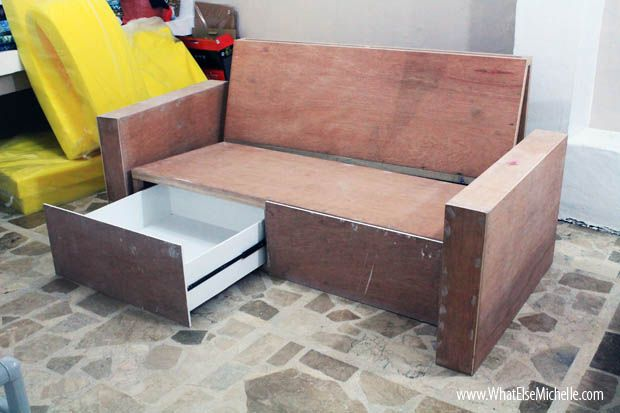 Sneak Peek Diy Sofa With Storage Diy Sofa Diy Couch Sofa Frame