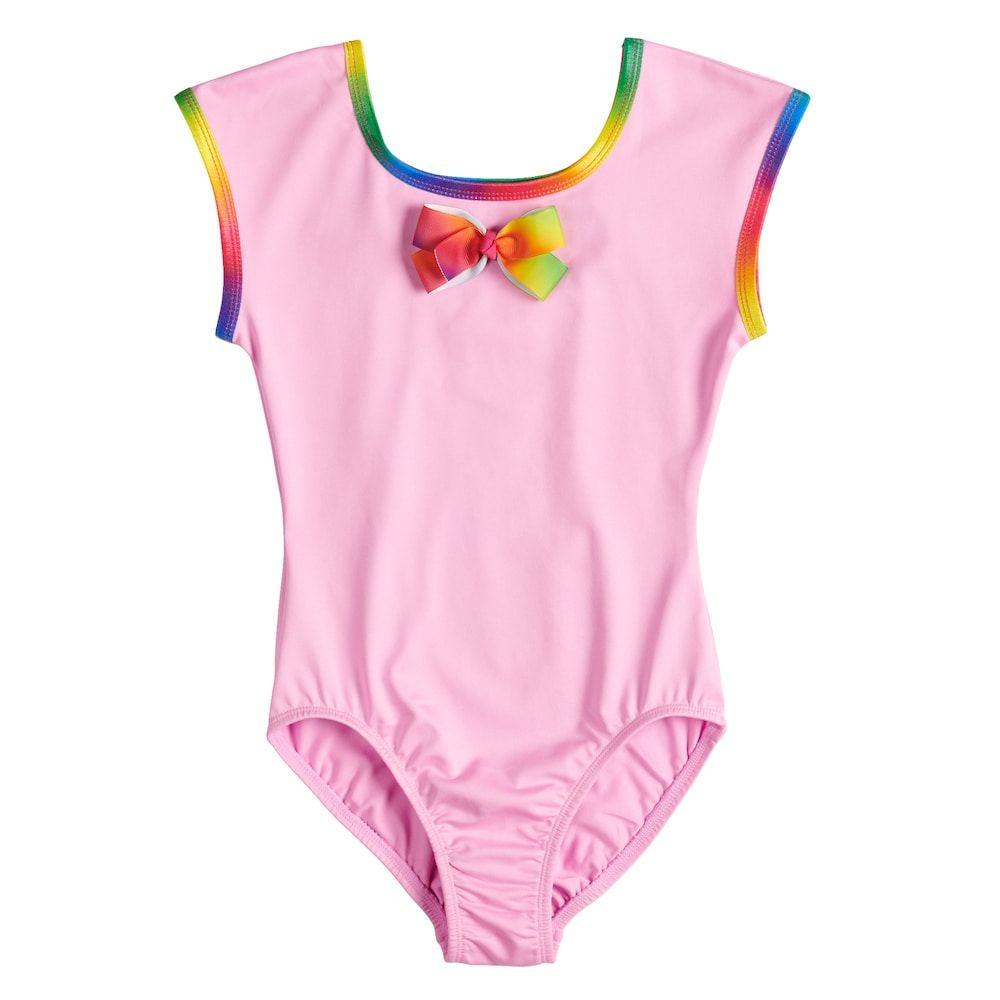 Jojo Siwa By Danskin Girls Big Rainbow Bows Short Sleeve Leotard