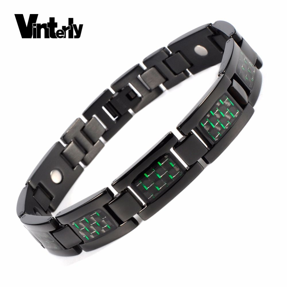 Vinterly pure titanium bracelet for men black green carbon fiber