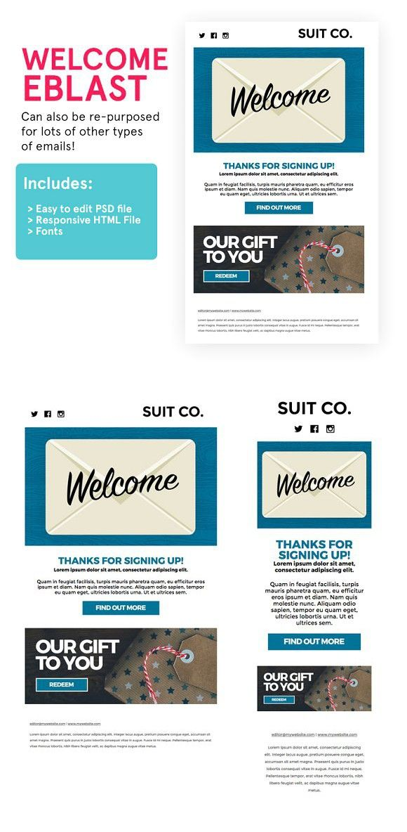 Welcome Email HTML PSD Template - Welcome email template html