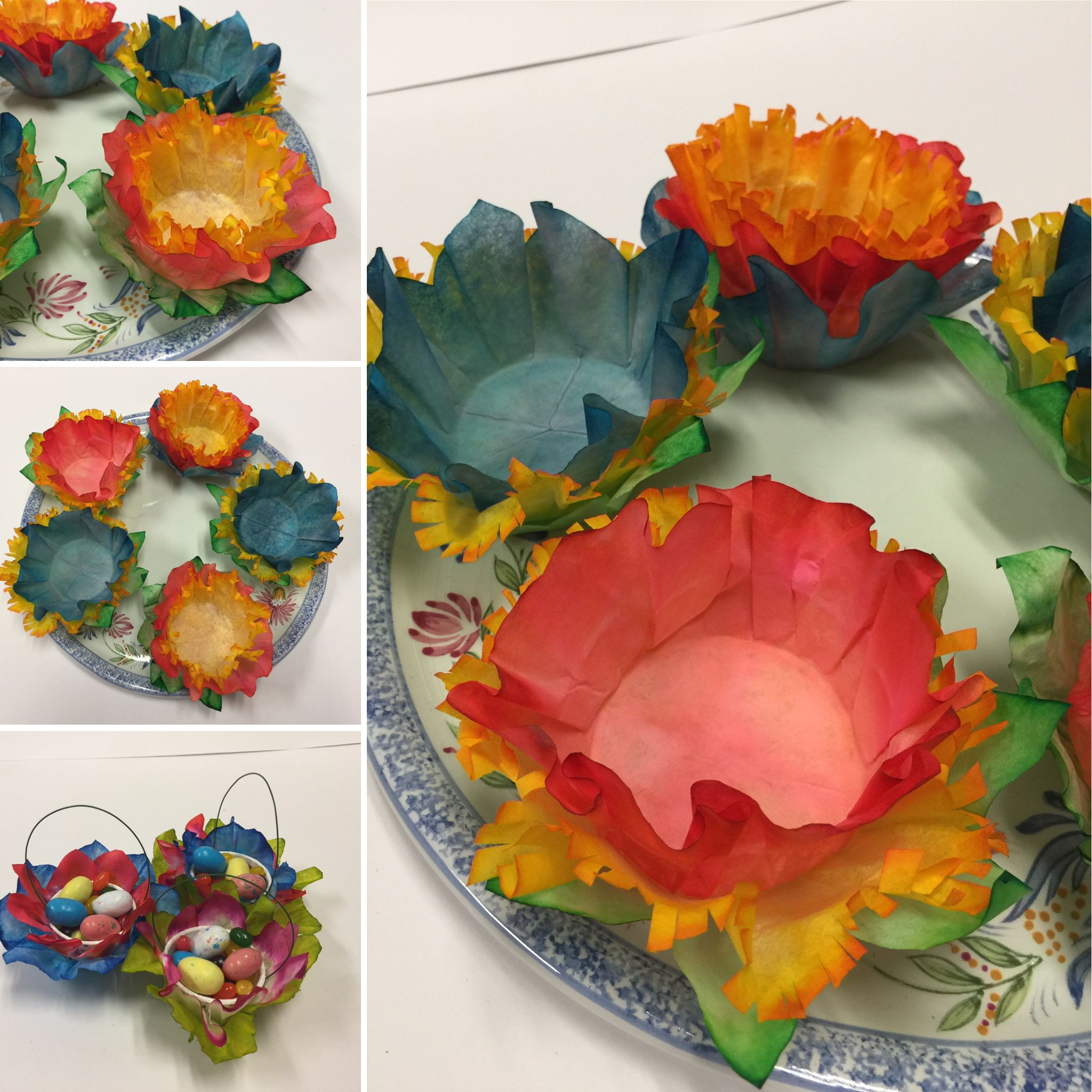 Diy How To Dye Coffee Filter Flower Baskets Put Chocolates