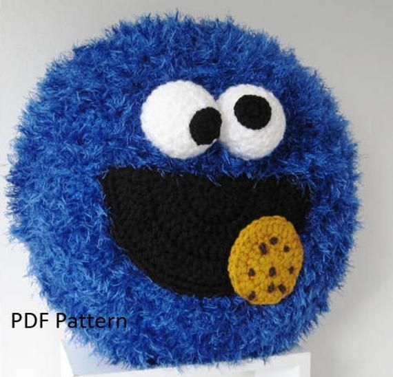 Cookie Monster Pillow - Cushion CROCHET PATTERN - crochet patterns for animal pillows - Birthday present - Baby shower gift