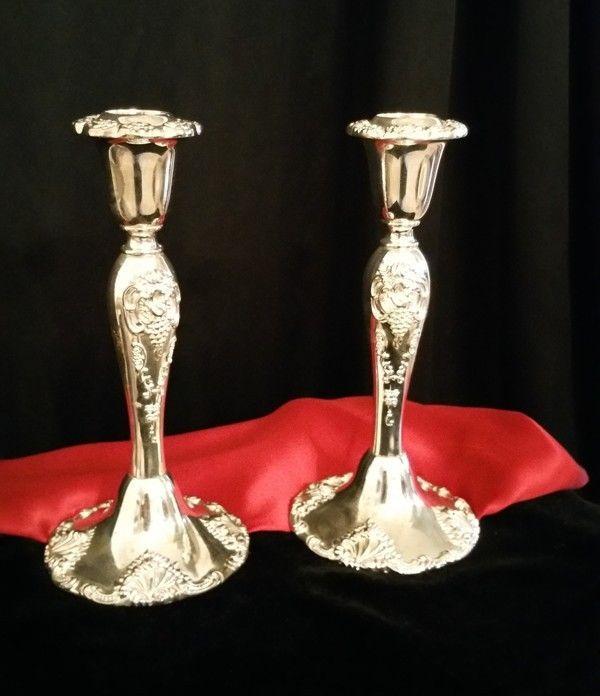 """Vintage Godinger Silver Art Co 8"""" Pair CANDLESTICKS Candle Holders Grape Motif  #Godinger"""