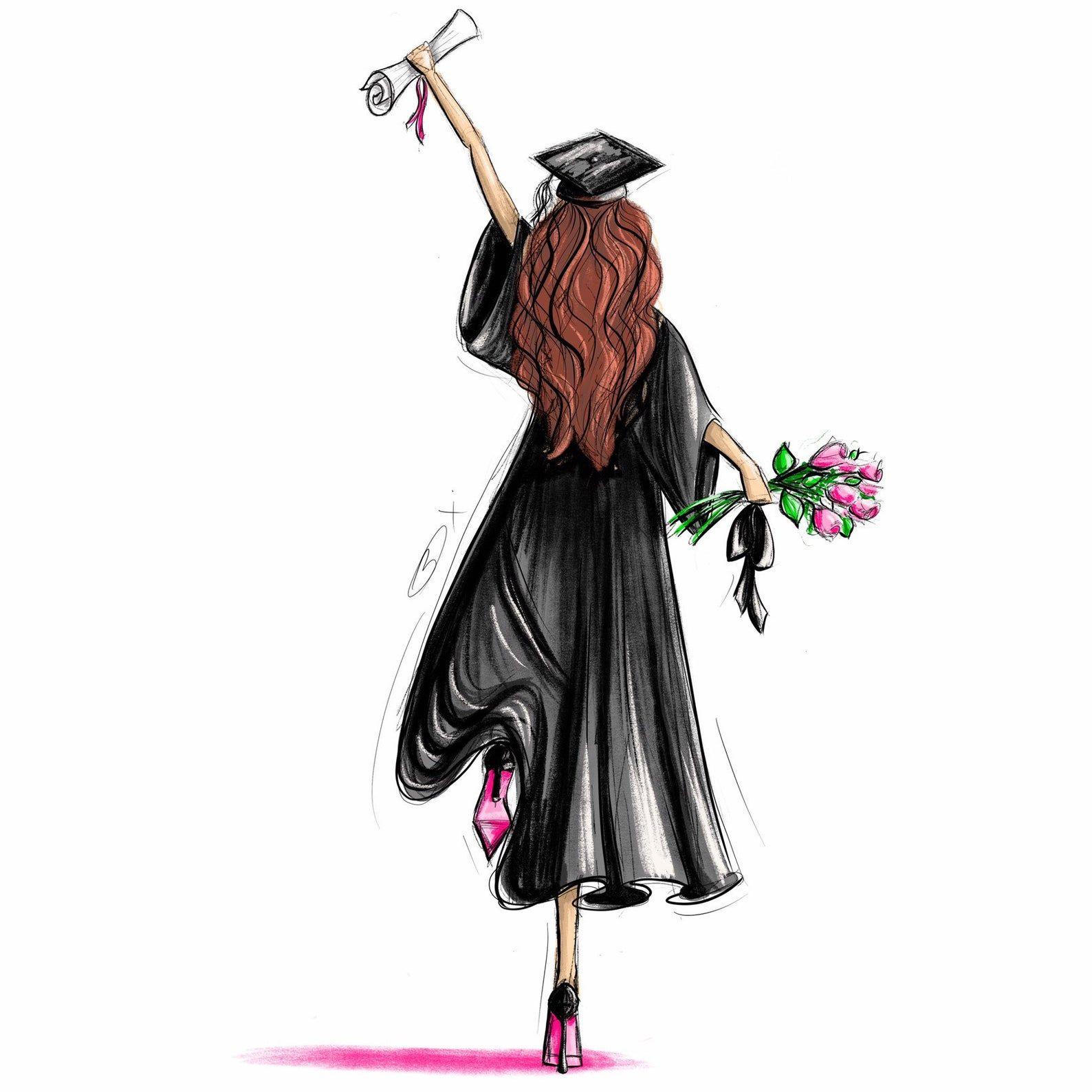 Scroll and Roses - Customizable Graduation Gift Fashion Illustration Art Print
