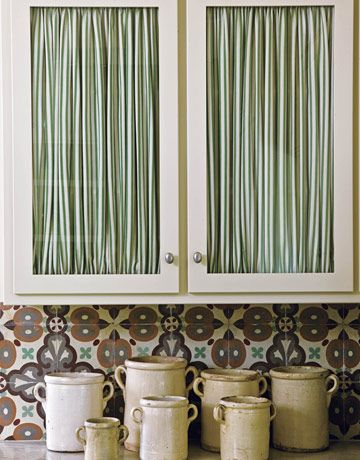 Fabric behind glass cupboard doors   For the Home   Pinterest ...