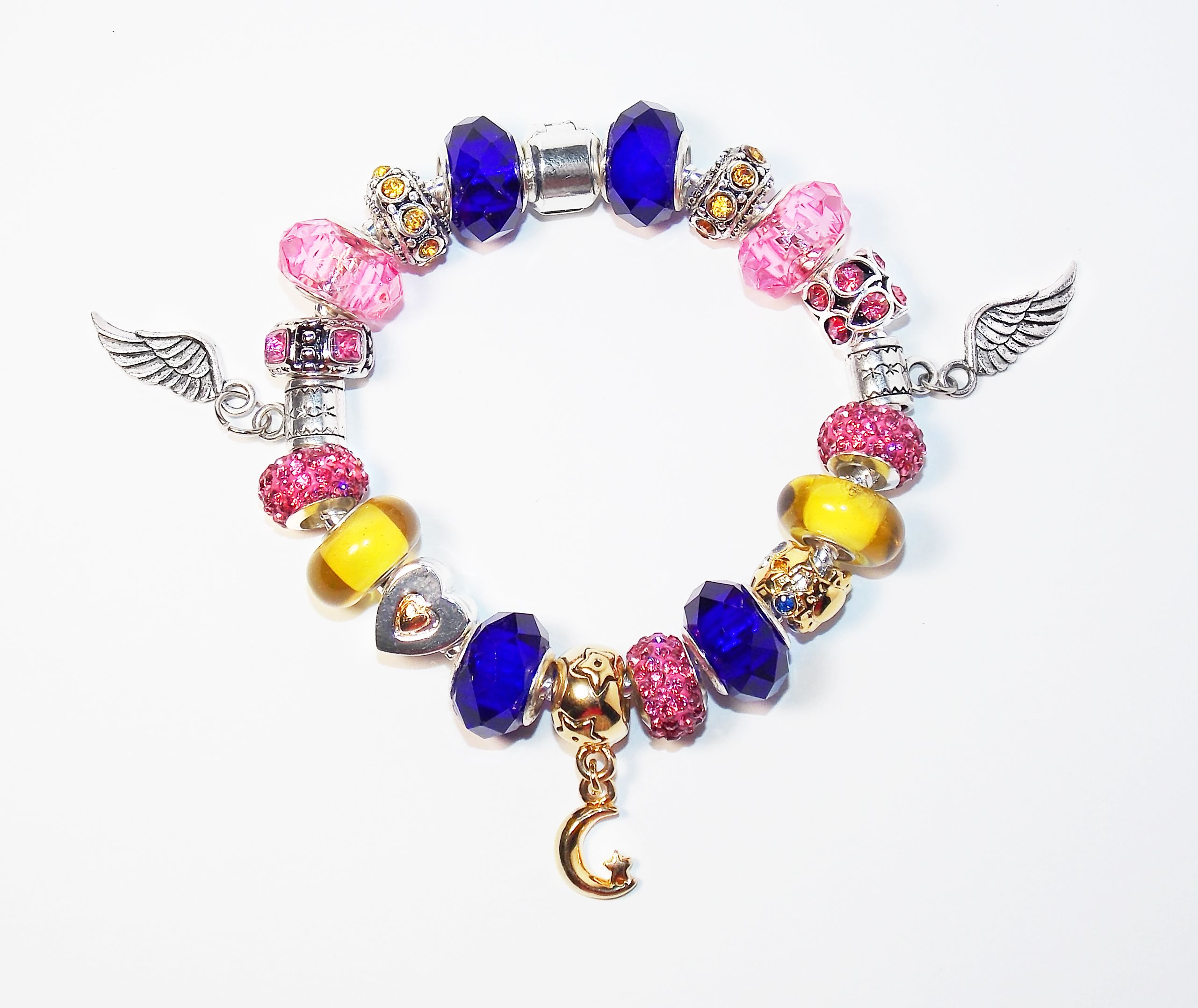 The Eternal Sailor Moon Bracelet, Handmade By Me Exclusive Pandora Style  Jewelry, Silver