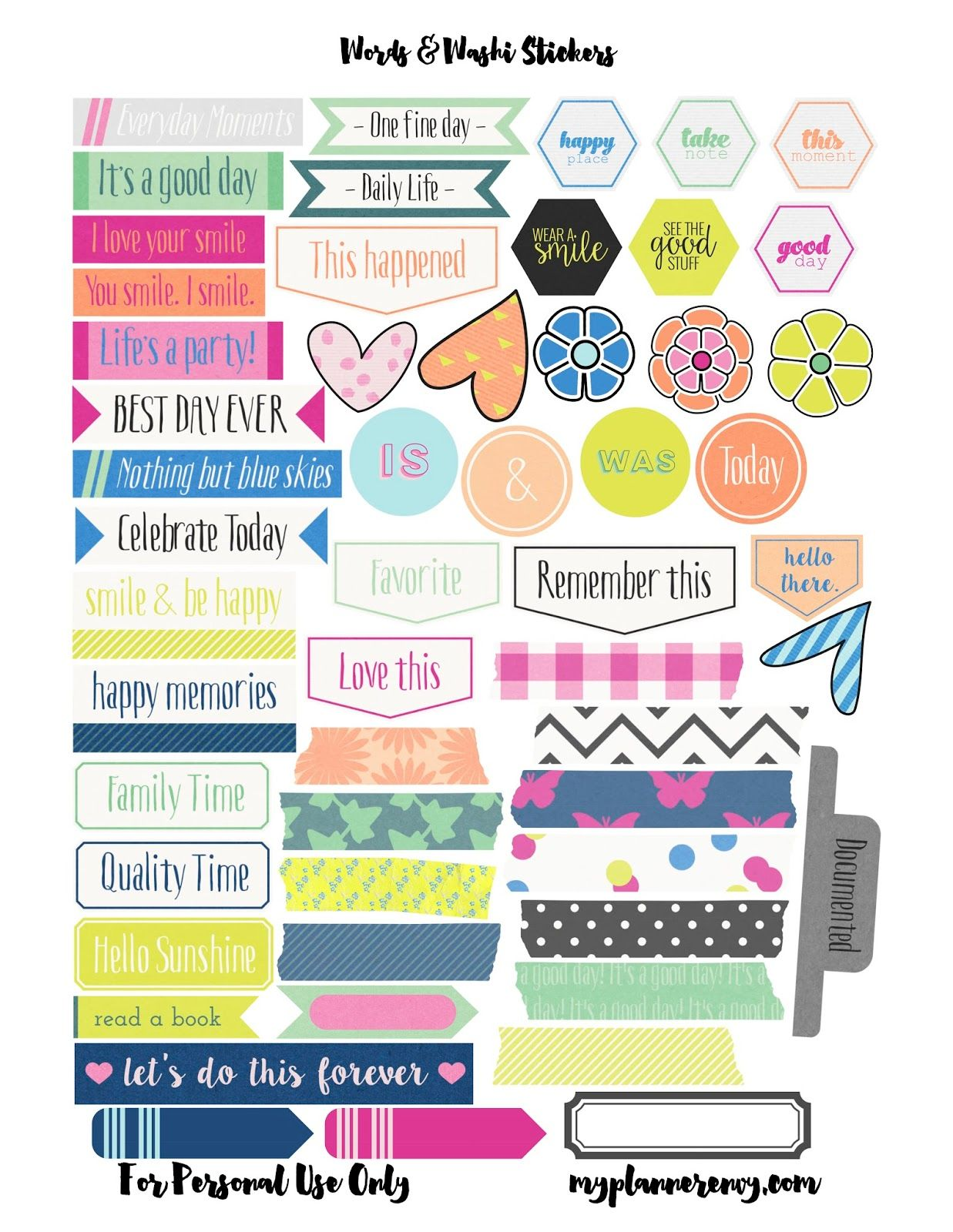 Free printable of words washi labels for the eclp and for Time design planner