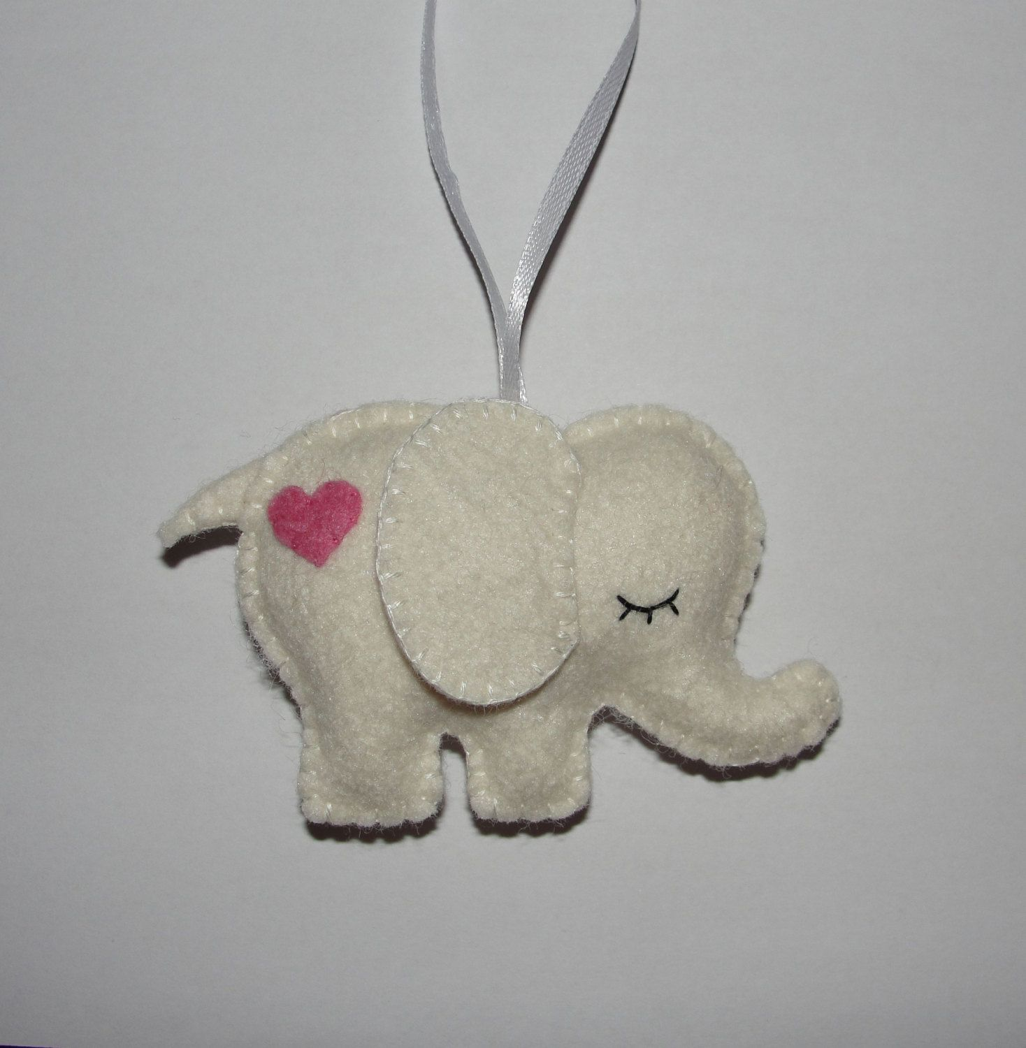 Lovely Wool Felt Elephant Ornament, White Elephant Ornament, Baby Shower