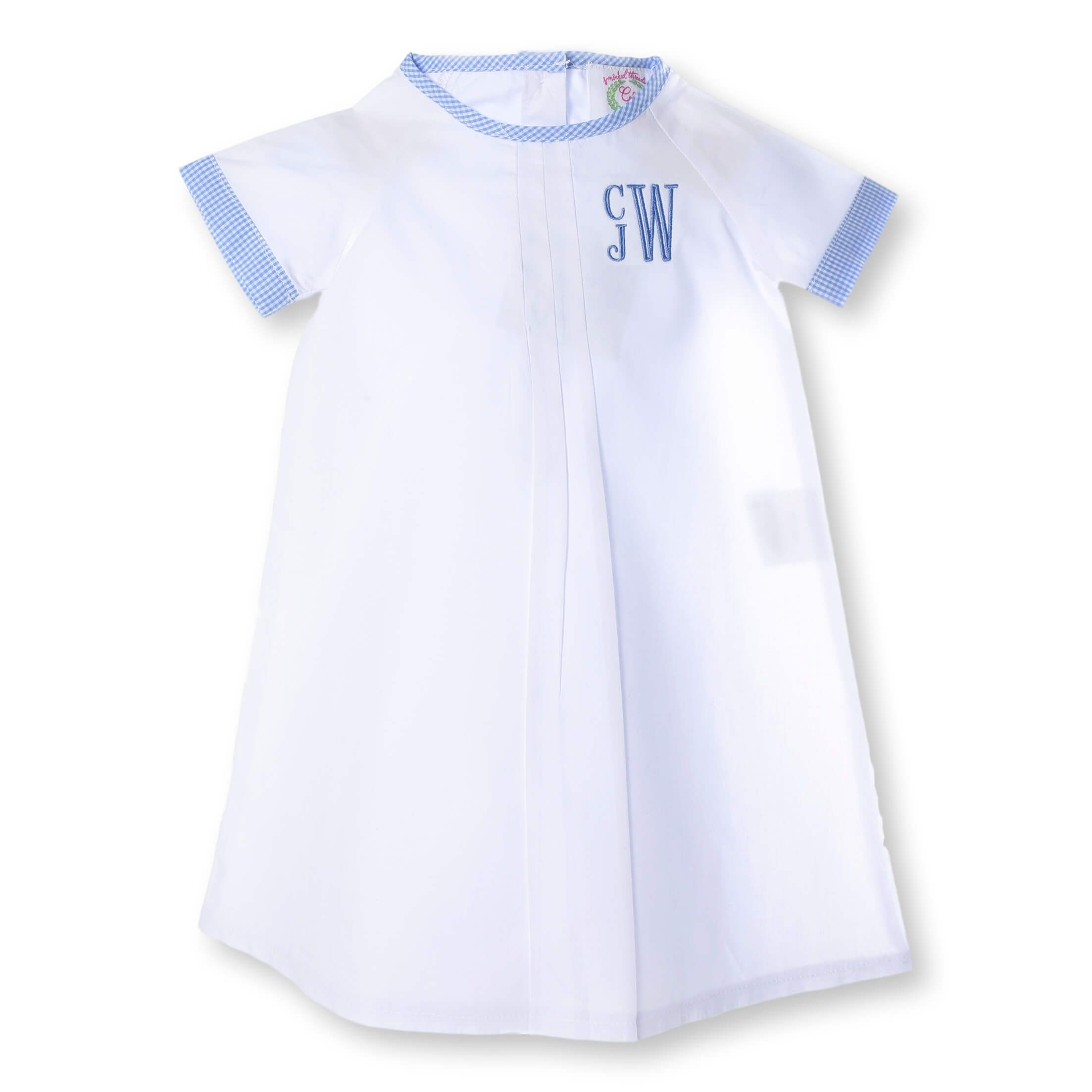 Boys White Layette Gown with Blue Gingham Trim - Cecil & Lou   Baby ...