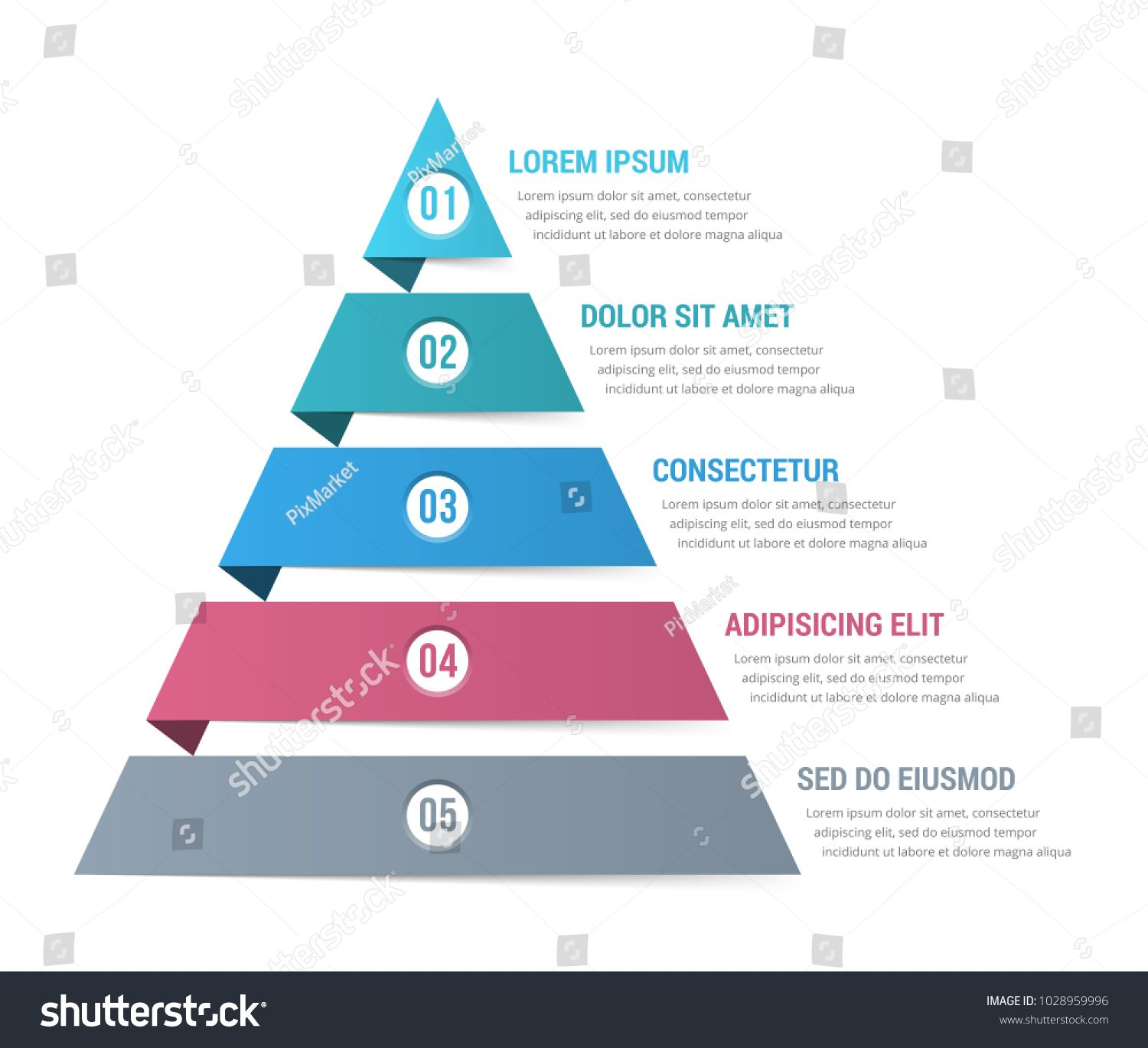 Pyramid Infographic Template With Five Elements Vector Eps10