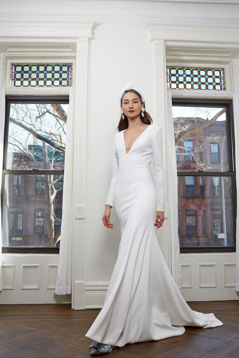31 Minimalist Wedding Dresses That Make A Serious Under Statement Wedding Dresses Bhldn Wedding Dress Wedding Dress Long Sleeve [ 1233 x 822 Pixel ]