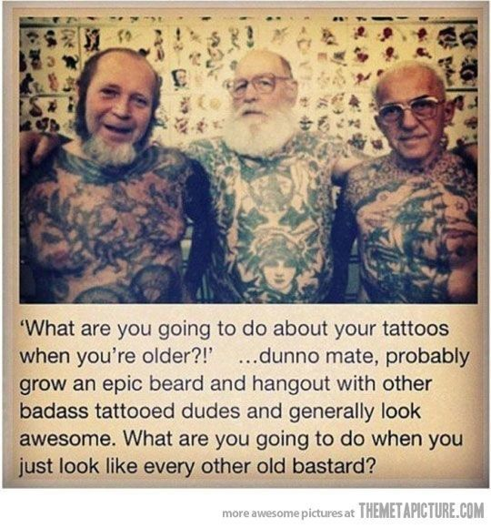 Deze jongens hebben klasse. | À quoi ressemblera votre tatouage dans 40 ans?
