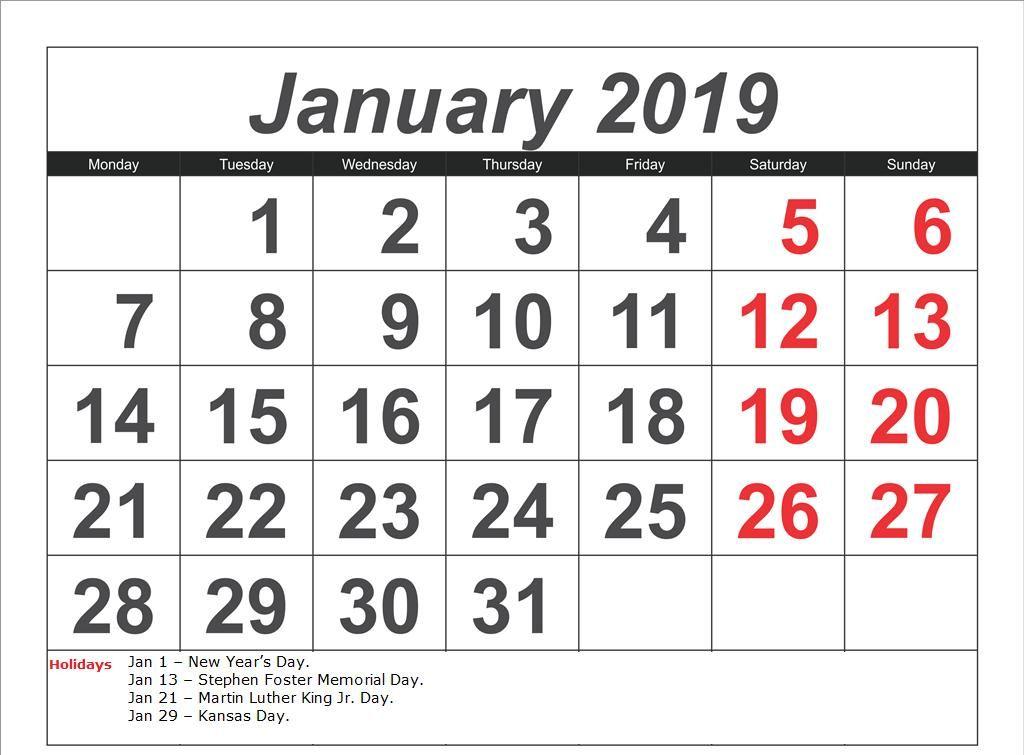 January Month 2019 Calendar With Holidays #TemplatePrintable