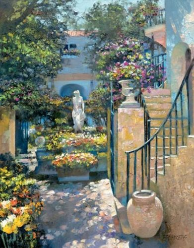 """""""Palm Beach Flower Garden""""  (The painting he is working on in the video i pinned )  By Howard Behrens."""