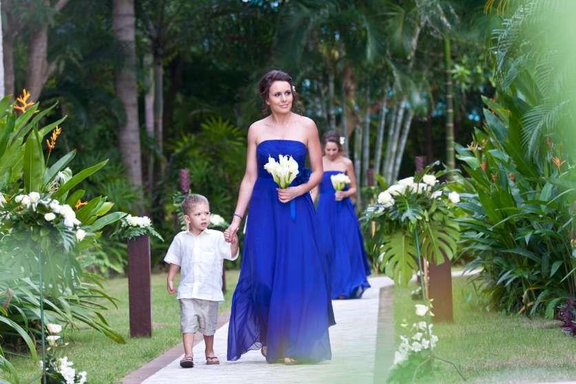 Striking Azure Blue Bridesmaid Dresses Beach Weddings Koh Samui Thailand