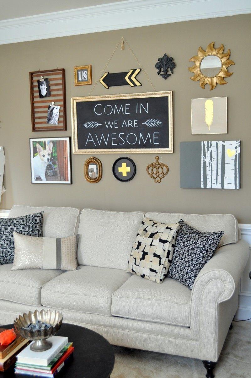 Diy black gold gallery wall diy living room decor decor