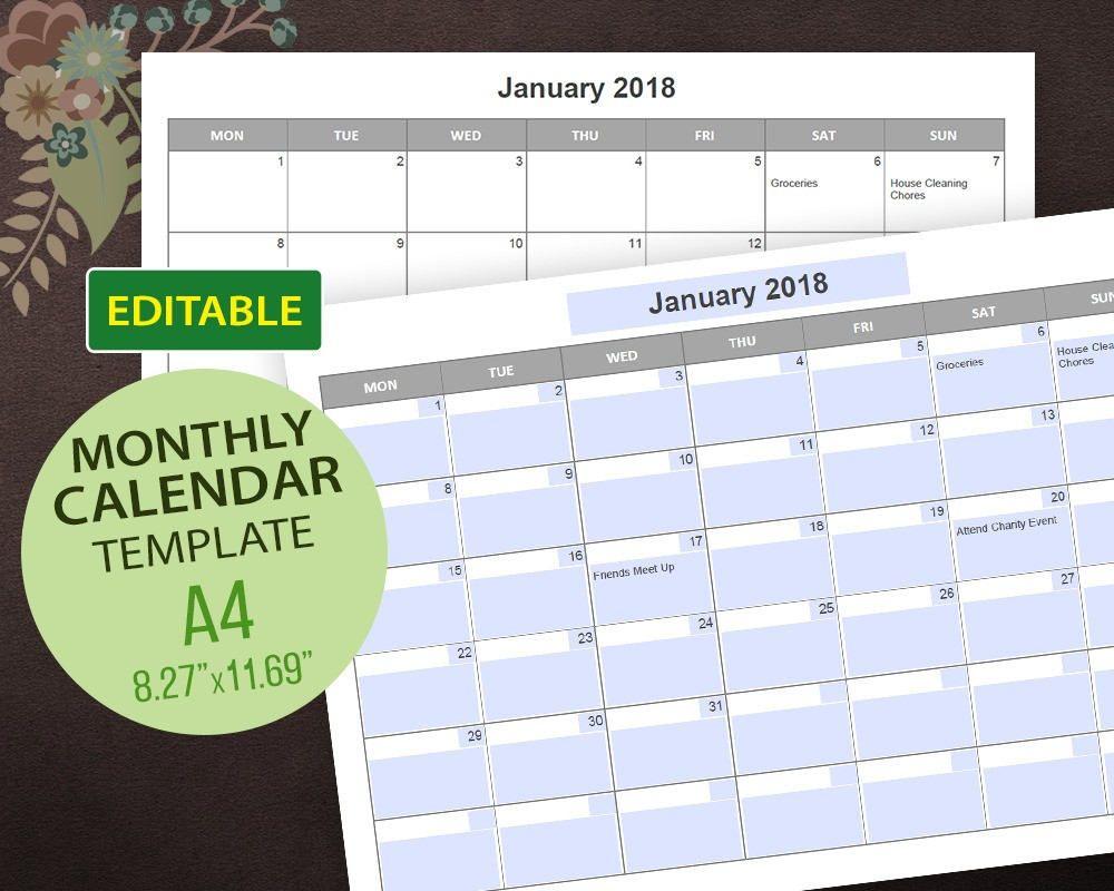 Editable Calendar Templates Editable Pdf Printable Calendar