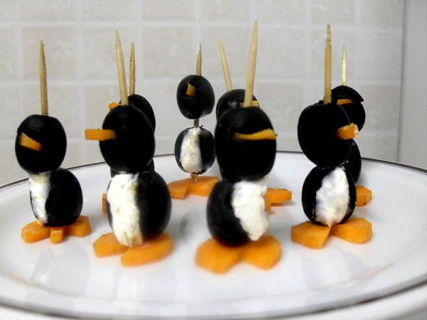Pinguinos de aceitunas negras, sabroso y divertido aperitivo