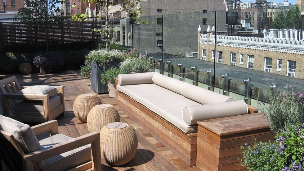 rooftop deck ideas cute stools and large bench sofa design with modern rooftop deck idea plus high glass fence - Rooftop Deck Design Ideas