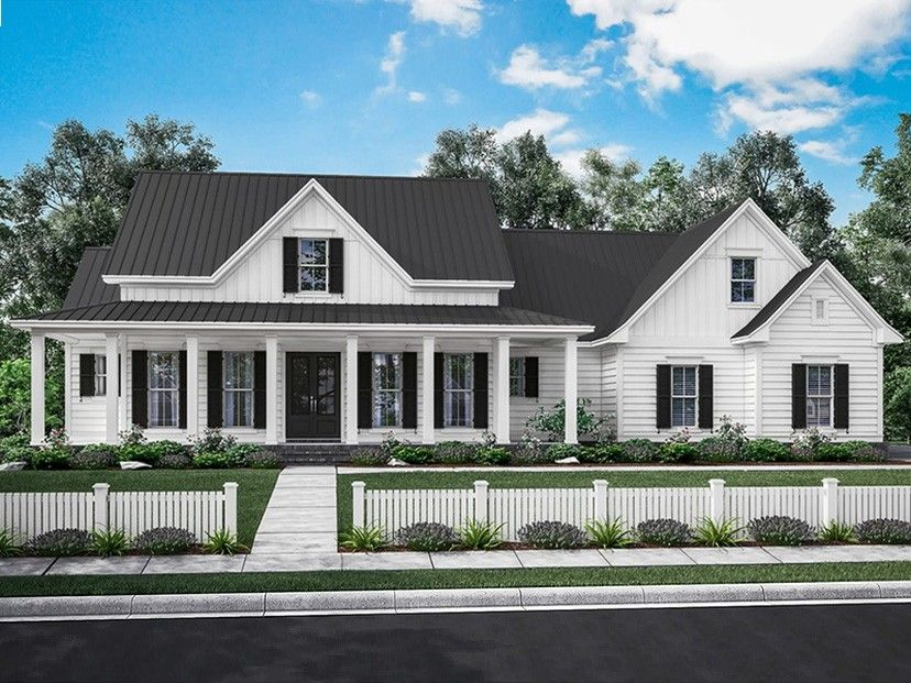 This house plan design features a wrap around
