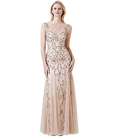 Adrianna Papell Beaded SheerYoke Gown #Dillards $300.00 ...