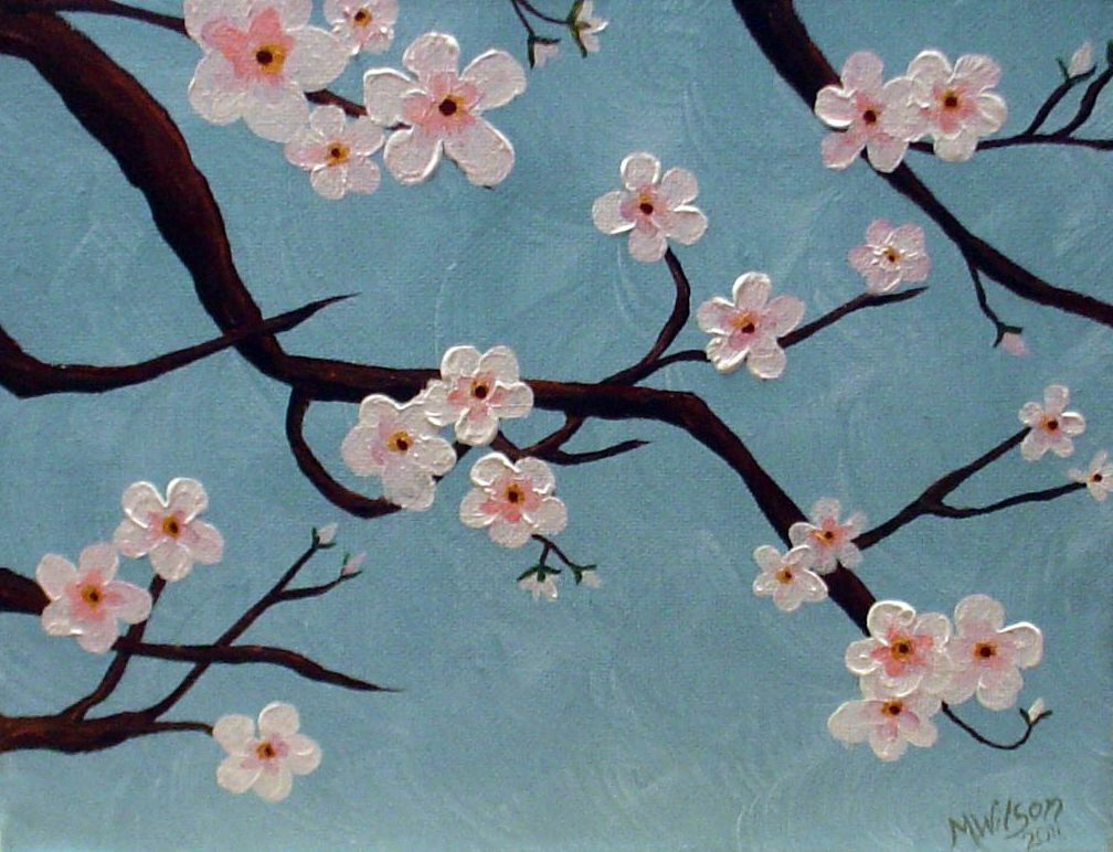 Cherry Blossoms Easy Flower Painting Cherry Blossom Painting Acrylic Painting Flowers