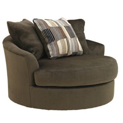 Superbe Benchcraft Westen Oversized Round Swivel Chair In Chocolate