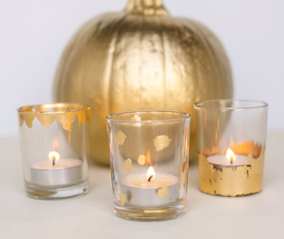 Gold Leaf Votive Kit from Maker Crate: Light up your celebrations with sparkling gold glass votives.