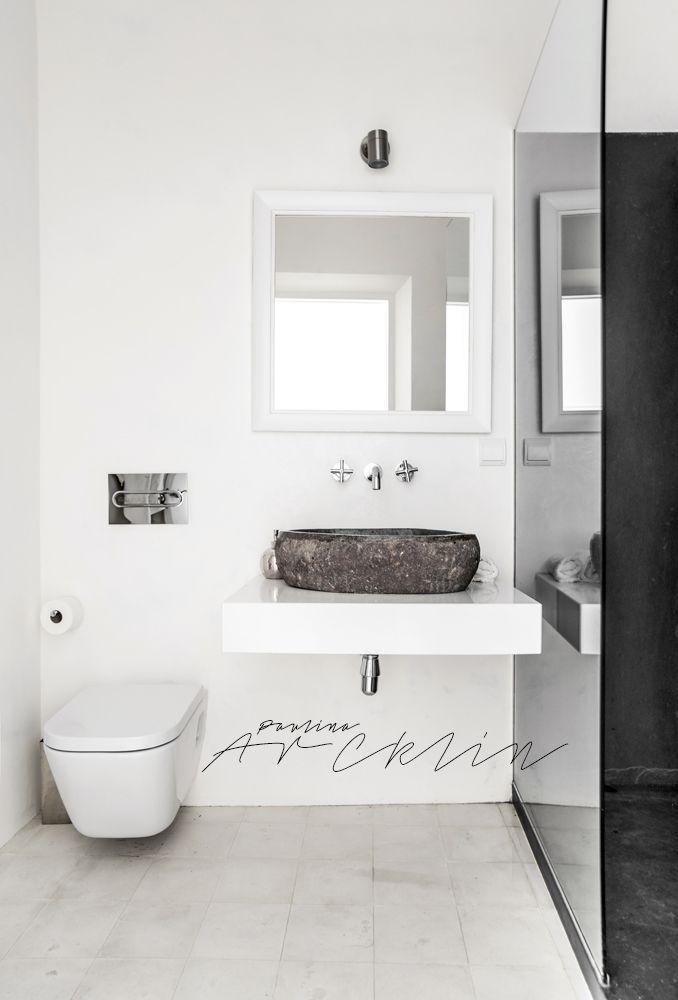 rough basic against white bathroom Paulina Arcklin