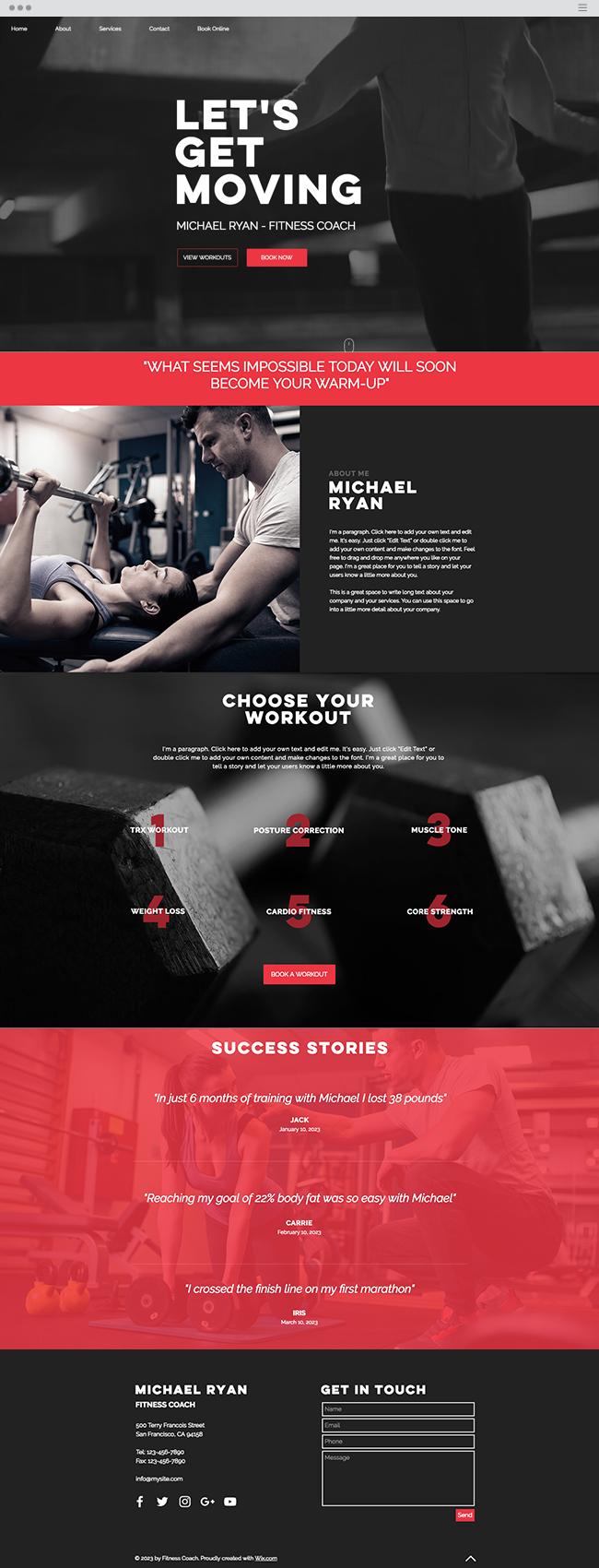 Fitness Coach Website Template Fitness Coach Website