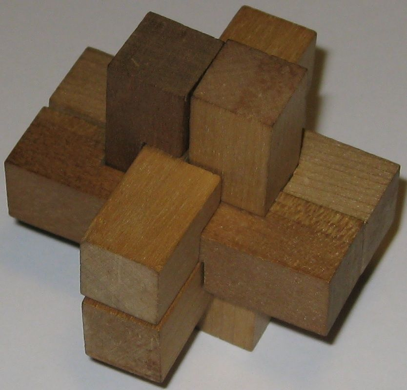 Mikado block puzzle solved wooden interlock puzzles