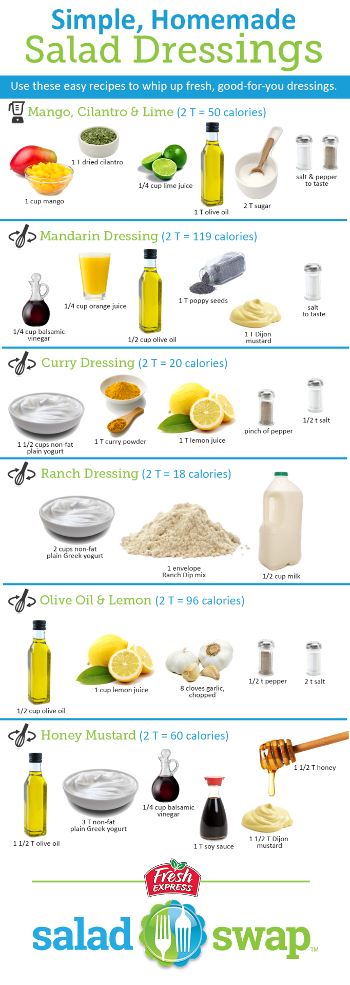 Simple, Homemade Salad Dressings | Why use store-bought, when you can whip up these 6 easy salad dressings in an instant? #saladswap #FreshExpress