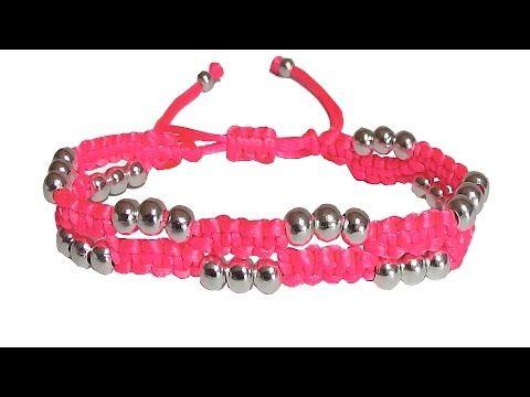 bd1a967ded24 Como hacer pulseras de hilo con nudos de macrame y perlas o cuentas  bisuteria tutorial - YouTube
