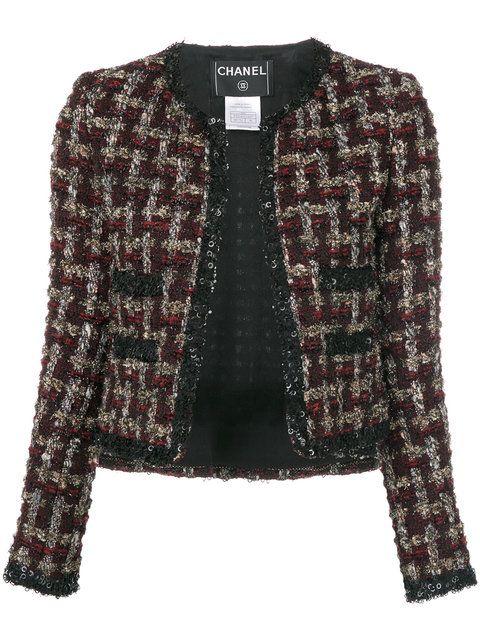 eb64f062b45 Chanel Vintage veste crop en tweed à carreaux