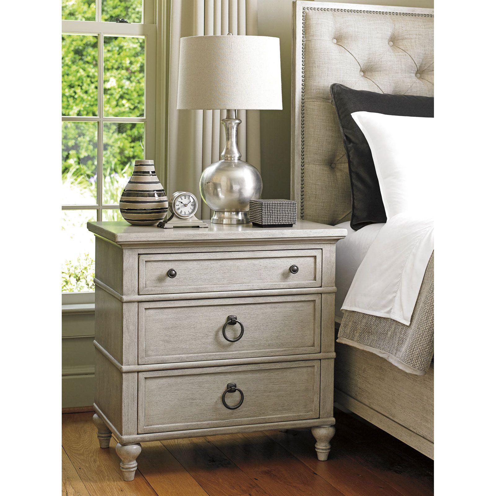 Lexington Cedarhurst Modern 3 Drawer Turned Legs Whitewash Wood Nightstand Lexington Furniture Furniture Bedroom Furniture