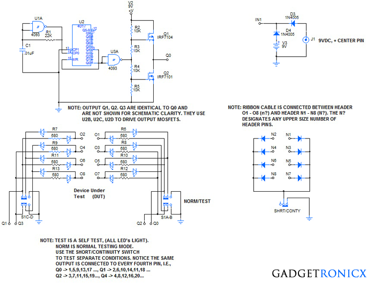 Idc ribbon cable tester circuit circuits idc ribbon cable tester circuit diagram and schematic design for carrying out testing quite easily in your ribbon cables for continuity and shorts in it ccuart Choice Image